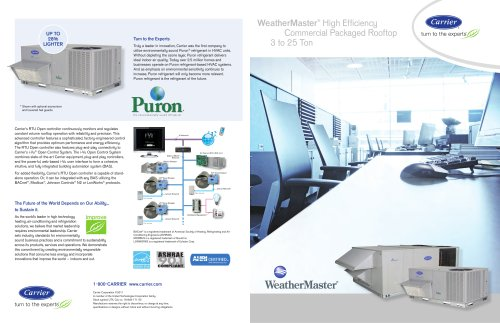 WeatherMaster® High Efficiency Commercial Packaged Rooftop 3 to 25 Ton