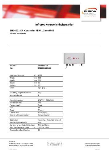 BHC4001-ER Controller 4kW 1 Zone IP65