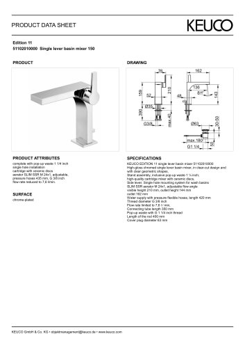Edition 11 51102010000 Single lever basin mixer 150