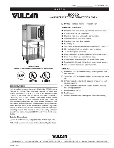 ECO2D HALF SIZE ELECTRIC CONVECTION OVEN