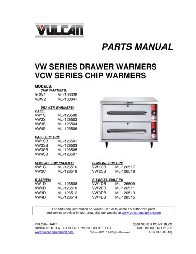 VW SERIES DRAWER WARMERS VCW SERIES CHIP WARMERS