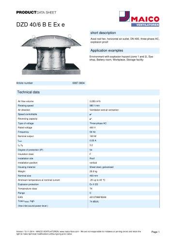 Axial roof fan DZD 40/6 B E Ex e