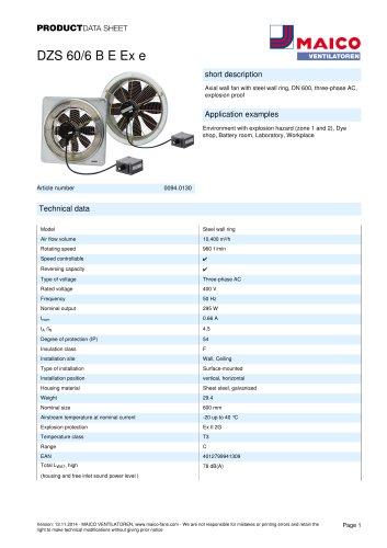 Axial wall fan DZS 60/6 B E Ex e