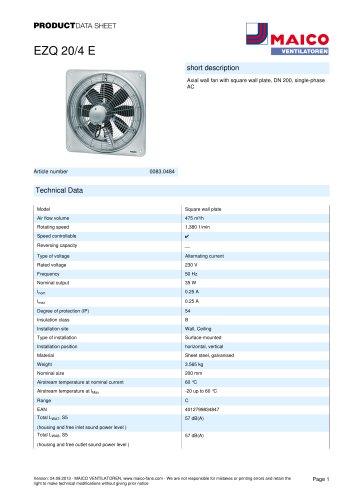 Product data sheet Axial wall fan EZQ 20/4 E