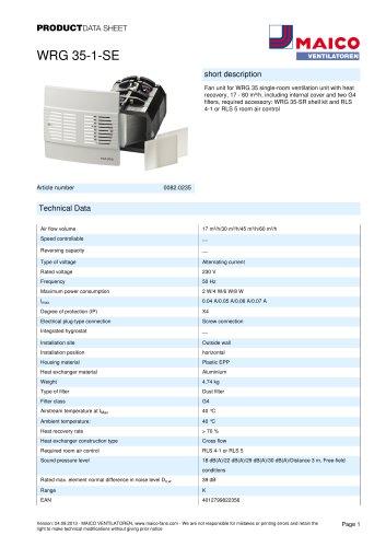 Product data sheet Final assembly kit WRG 35-1-SE