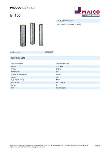 Product data sheet Fire protection insulation BI 100