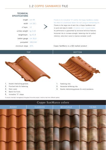 Roof system: Coppo SanMarco Tile