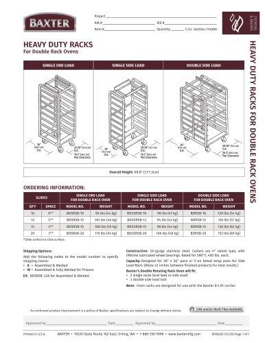 HEAVY DUTY RACKS For Double Rack Ovens