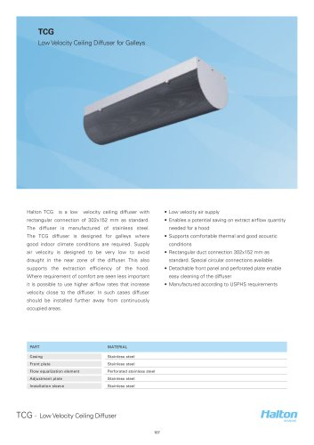 TCG Low Velocity Ceiling Diffuser for Galleys