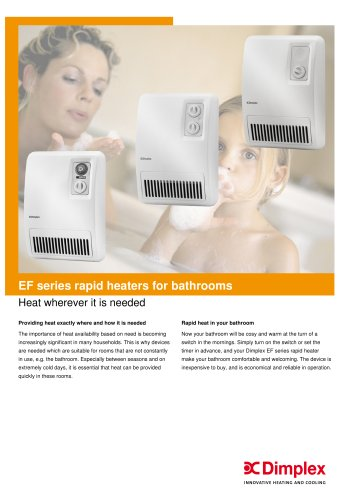EF series rapid heaters for bathrooms