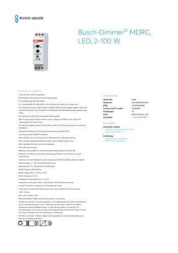 Busch-Dimmer MDRC, LED, 2-100 W