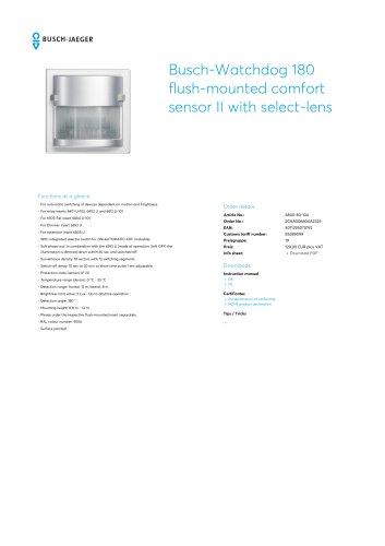 Busch-Watchdog 180 flush-mounted comfort sensor II with select-lens ALUMINIUM SILVER