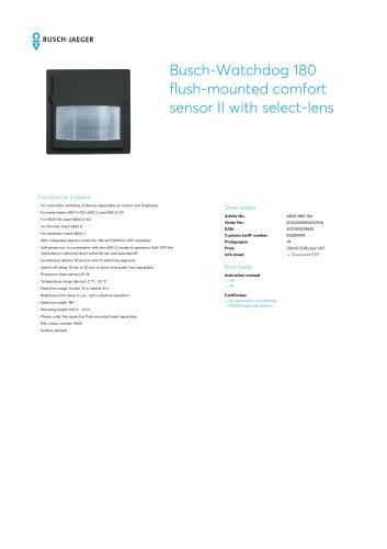 Busch-Watchdog 180 flush-mounted comfort sensor II with select-lens BLACK MATT