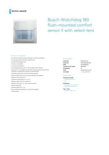 Busch-Watchdog 180 flush-mounted comfort sensor II with select-lens STAINLESS STEEL