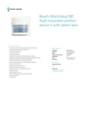 Busch-Watchdog 180 flush-mounted comfort sensor II with select-lens STUDIO WHITE, MATT