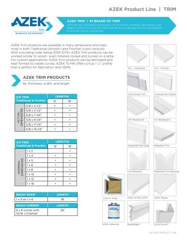 AZEK Product Line   TRIM