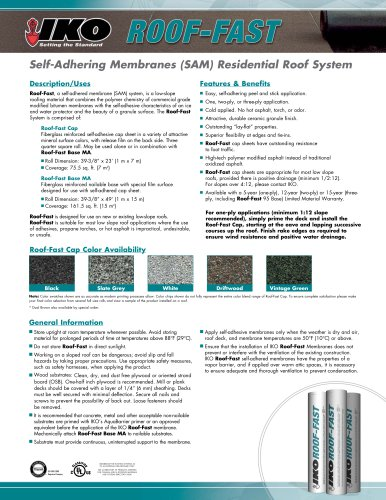 Self-Adhering Membranes (SAM) Residential Roof System