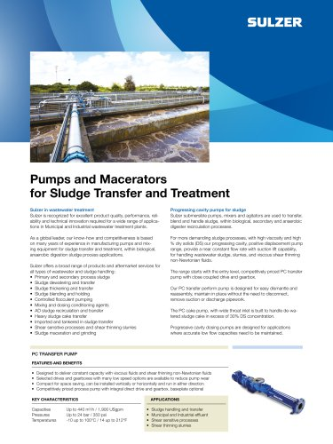 Pumps and Macerators for Sludge Transfer and Treatment