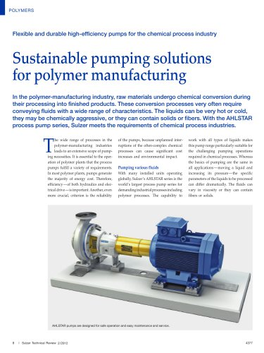 Sustainable pumping solutions for polymer manufacturing