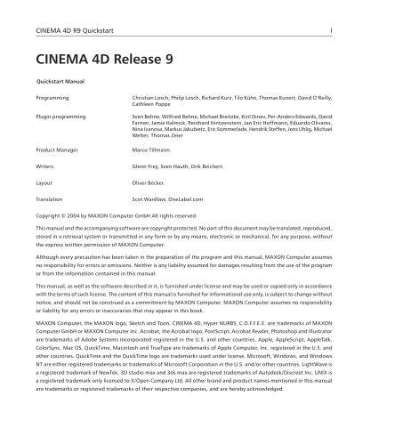 CINEMA 4D Release 9