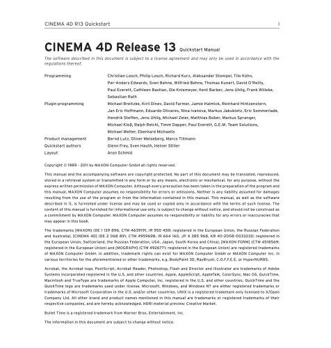 Quickstart CINEMA 4D R13