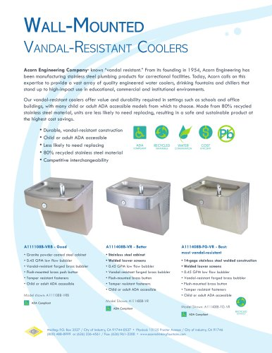 Wall-Mounted Vandal-Resistant Coolers