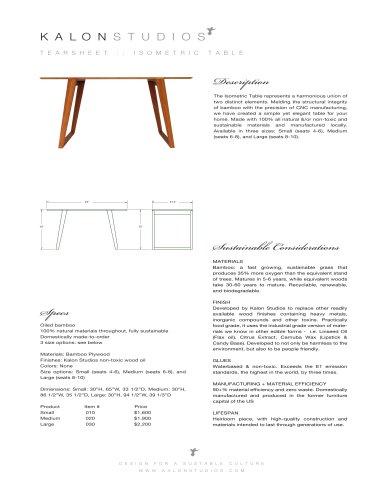 ISOMETRIC TABLE
