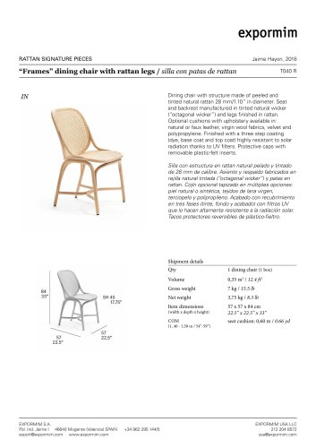 """""""Frames"""" dining chair with rattan legs"""