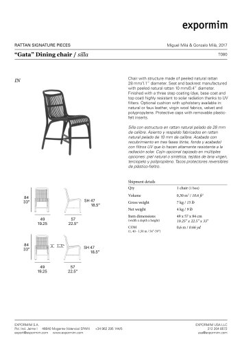 """Gata"" Dining chair / silla"