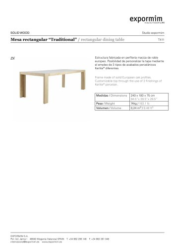 IN:Traditional Rectangular dining table
