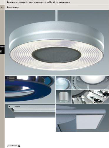 Luminaires compacts pour montage en saillie et en suspension