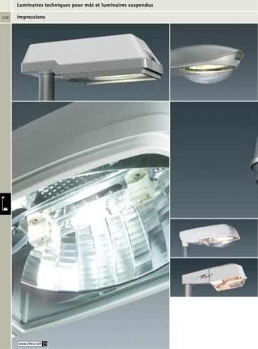 Luminaires techniques pour mât et luminaires suspendus