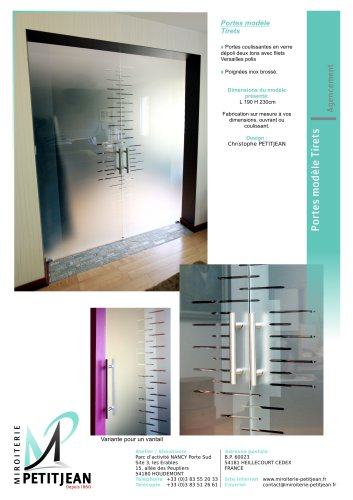 Portes en verre avec décor  Modèle Tirets