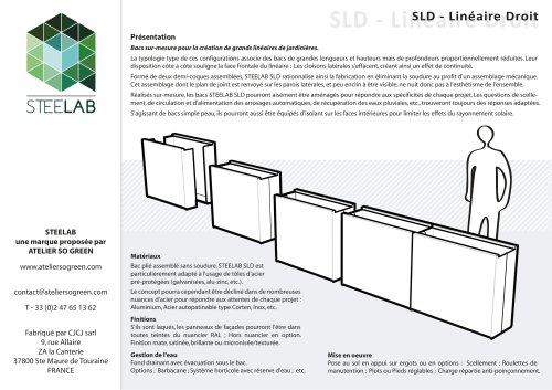 SLD Jardinières Steelab Linéaire Droit