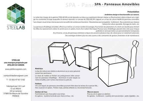 SPA Jardinières Steelab Panneaux amovibles