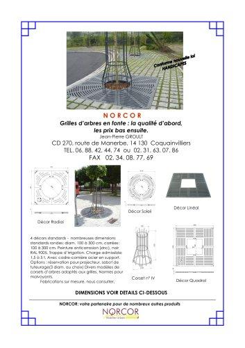 Grilles d'arbres en fonte rondes ou carrées