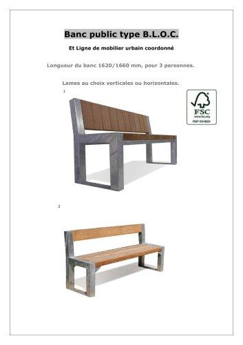 Ligne de mobilier B.L.O.C - bancs avec ou sans dossier- table-corbeille