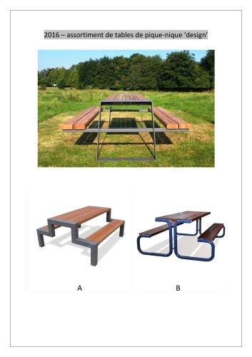 Sélection de tables de pique-nique DESIGN