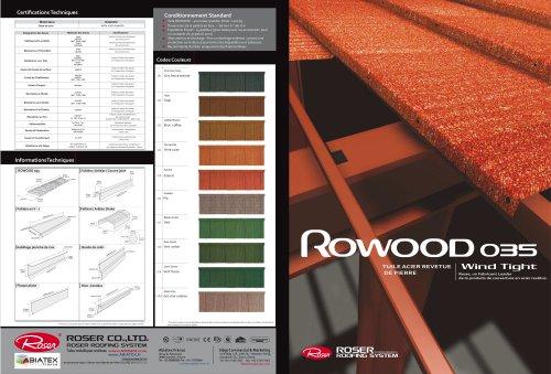 Tuile métallique spécial charpente métallique : Rowood 035