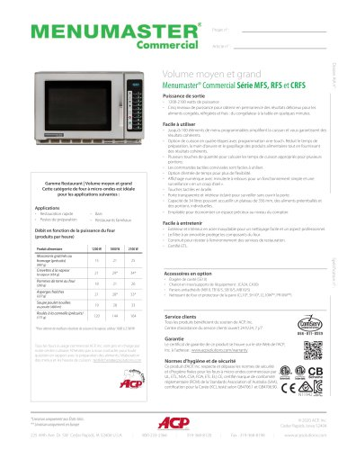 Menumaster® Commercial Série MFS, RFS et CRFS