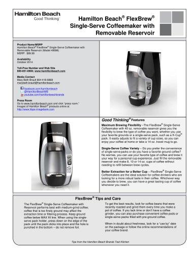 Hamilton Beach® FlexBrew® Single-Serve Coffeemaker with Removable Reservoir (49996)