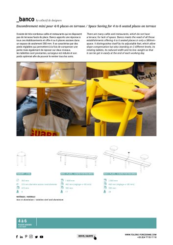 TF URBAN - BANCO table and bench - design by collectif designers