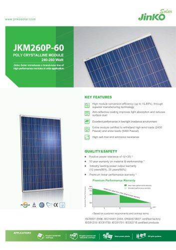 Standard Module:JKM260P-60(240W~260W)