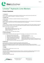 Limetec® Hydraulic Lime Mortars datasheet