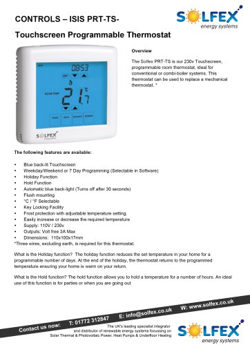 CONTROLS - ISIS PRT-TS- Touchscreen Programmable Thermostat