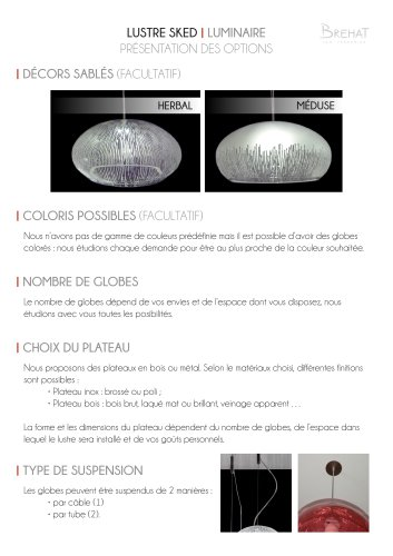 Lustre SKED - options de personnalisation