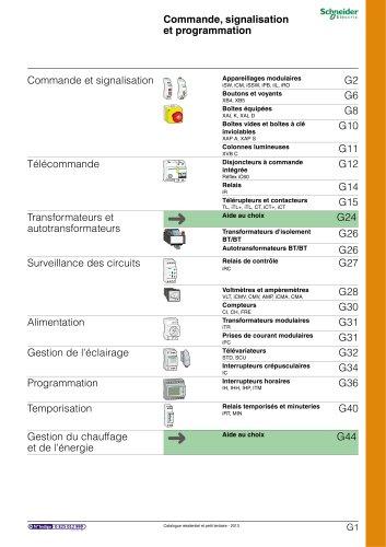 Résidentielet petit tertiaire:catalogue 2013/chapitre G