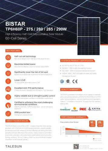 BISTAR TP6H60P - 275 / 280 / 285 / 290W