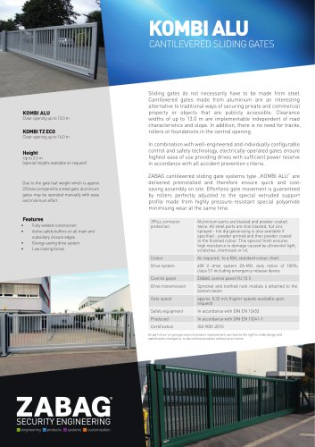 KOMBI ALU CANTILEVERED SLIDING GATES
