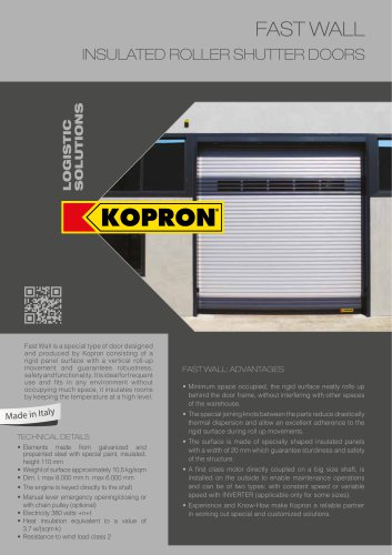 FAST WALL INSULATED ROLLER SHUTTER DOORS